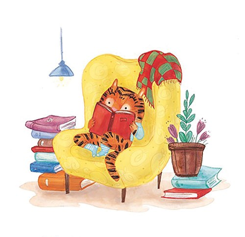 Jessica Martinello Illustration - jessica, martinello, jessica martinello, illustration, hand drawn, painted, digital, novelty, picture book, commercial, educational, sweet, young, fiction, trade, YA, tiger, animal, books, reading, armchair, chair, cosy, lamp, blanket, plant, cute, snug