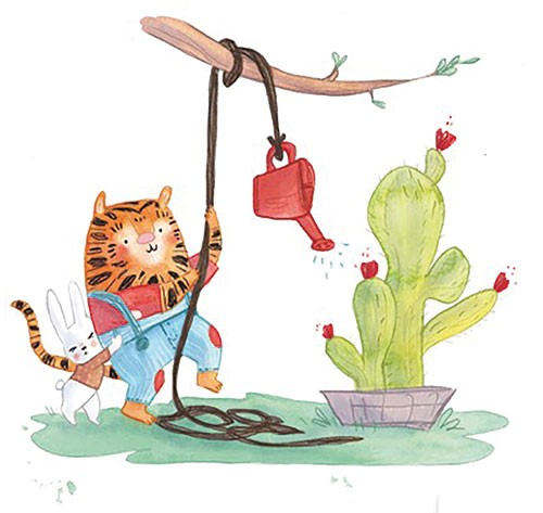 Jessica Martinello Illustration - jessica, martinello, jessica martinello, illustration, hand drawn, painted, digital, novelty, picture book, commercial, educational, sweet, young, fiction, trade, YA, tiger, animals, rabbit, watering can, garden, water, cactus, flowers, tree, branch, fun,