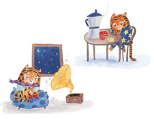 Jessica Martinello Illustration - jessica, martinello, jessica martinello, illustration, hand drawn, painted, digital, novelty, picture book, commercial, educational, young, fiction, trade, YA, tiger, animal, coffee, drink, kitchen, sleep, pyjamas, stars, table, tired, gramophone, music