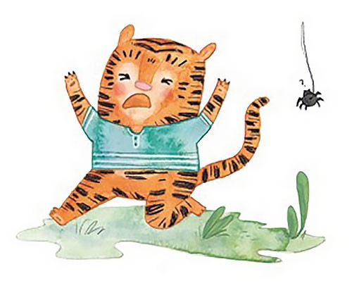 Jessica Martinello Illustration - jessica, martinello, jessica martinello, illustration, hand drawn, painted, digital, novelty, picture book, commercial, educational, sweet, young, fiction, trade, YA, tiger, animals, scared, spider, grass, outdoors, garden,