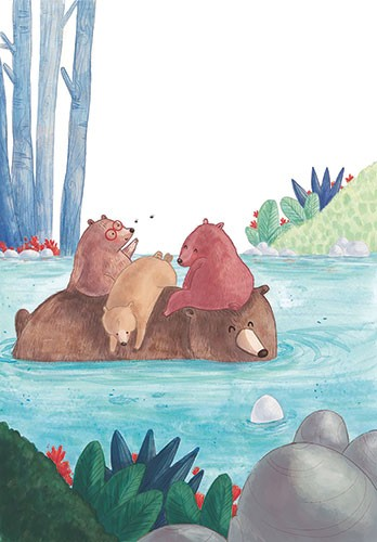 Jessica Martinello Illustration - jessica, martinello, jessica martinello, illustration, hand drawn, painted, digital, novelty, picture book, commercial, educational, sweet, young, fiction, trade, YA, nature, wildlife, woods, trees, bears, animals, family, river, swimming, plants, flowers