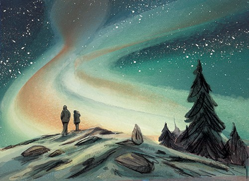 Julia Moscardo Illustration - Júlia Moscardó, illustrator, traditional, pencil, line work, hand drawn, texture, crayon, colour, colourful, nature, landscape, northern lights, aurora borealis, iceland, people, figures, trees, snow, rocks, hill, sky, night, beautiful, stars, cold, winte