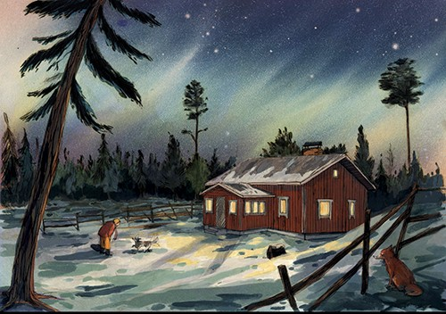 Julia Moscardo Illustration - Júlia Moscardó, illustrator, traditional, pencil, line work, hand drawn, texture, crayon, colour, colourful, nature, landscape, house, home, lights, dog, pet, fox, animals, wild, person, figure, trees, snow, sky, night, beautiful, stars, cold, winter, sno