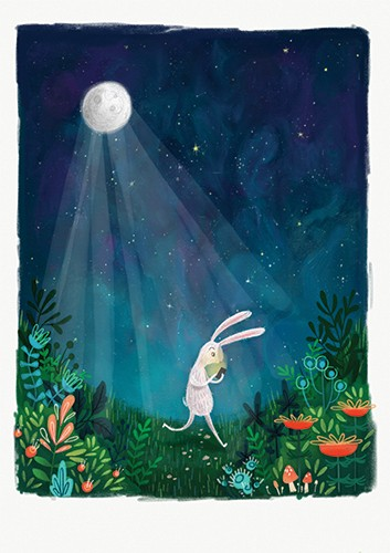Jessica Rose Illustration - jes, oconnor, jes oconnor, illustrator, illustration, digital, photoshop, trade, picture book, flowers, colourful, floral, decorative, rabbit, animal, moon, stars, night time
