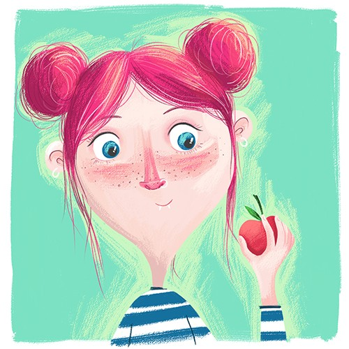 Jessica Rose Illustration - jessica, rose, jessica rose, illustrator, illustration, digital, photoshop, trade, colourful, girl, woman, figure, person, happy, teeth, apple, fruit, vampire, fantasy, cute