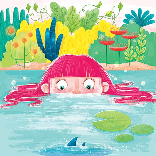 Jessica Rose Illustration - jessica, rose, jessica rose, illustrator, illustration, digital, photoshop, trade, girl, lake, water, lilypad, fin, fish, shark, sneak, plants, leaves, flowers, nature, wild, bubbles, cute, sweet