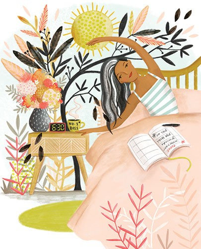 Jojo Clinch Illustration - jojo, clinch, jojo clinch, fiction, picture book, pencil, colour, hand drawn, traditional, digital, texture, woman, person, morning, sun, bed, wake, flowers, plants, leaves, nature, clock, time, list, yoga, boss, happy, smile, sun,