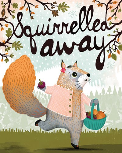 Jojo Clinch Illustration - jojo, clinch, jojo clinch, fiction, picture book, pencil, colour, hand drawn, traditional, digital, texture, nature, animal, wild, squirrel, basket, acorns, berries, fruit, seeds, food, branches, trees, leaves, autumn, fall, seasonal, book, cover, charact