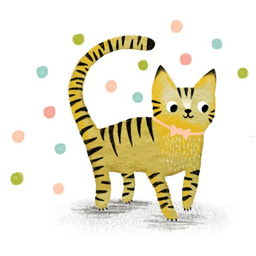 Jojo Clinch Illustration - jojo, clinch, jojo clinch, fiction, picture book, pencil, colour, hand drawn, traditional, digital, texture, cat, animal, pet, stripes, polka dots, bow, pink, bow tie, cute, sweet, smile, happy, tail, walking, paws