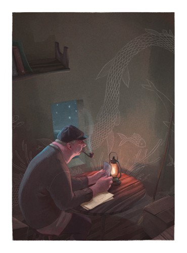 Jordi  Solano Illustration - jordi solano, jordi, solano, painterly, painted, magical, whimsical, digital, photoshop, YA, young fiction, picture books, fantasy, crayon, acrylic, fisherman, male, adult, man, fishing, fishes, lighthouse, smoking, smoker, pipe, dark, darkness, night time, lamps, stars, seas, homes, houses, thinking, photos, photograph, drawings, murals