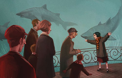 Jordi Solano Illustration - jordi solano, jordi, solano, painterly, painted, magical, whimsical, digital, photoshop, YA, young fiction, picture books, fantasy, crayon, acrylic, swimming, sharks, girl, scarf, learning, aquarium, eugenie, clarke,