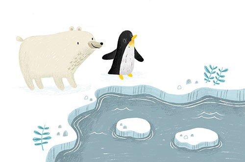 Jordan Wray Illustration - Jordan, Wray, Jordan Wray, illustration, pencil, drawing, photoshop, colour, colourful, commerical, mass market, fiction, cute, sweet, animals, penguin, polar bear, friends, ice, cold, weather, seasonal, arctic