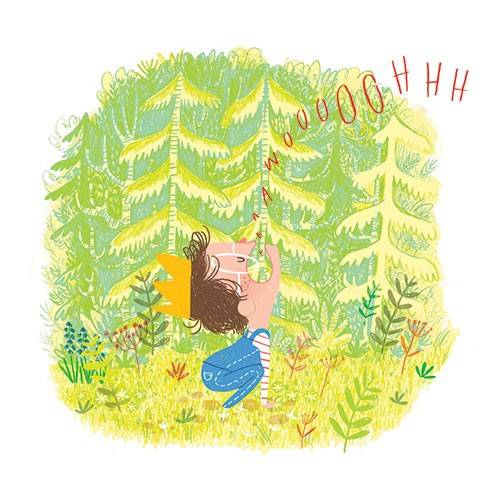 Jordan Wray Illustration - Jordan, Wray, Jordan Wray, illustration, pencil, drawing, photoshop, colour, colourful, commerical, mass market, fiction, cute, sweet, boy, child, person, figure, character, crown, prince, forest, wild, howl, wolf, animal, playing, games, acting, flowers,