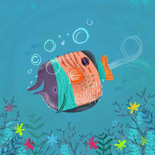Jordan Wray Illustration - Jordan, Wray, Jordan Wray, illustration, pencil, drawing, photoshop, colour, colourful, commerical, mass market, fiction, cute, sweet, underwater, ocean, sea, nature, wildlife, animals, fish, bubbles, swimming, upside down, silly, happy,