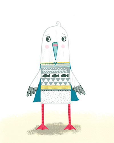 Katy Halford Illustration - katy, halford, fiction, picture book, commercial, characters, people, girl, paint, digital, mixed media, collage, digital, photoshop, illustrator, adventure, cover, seagull, bird, norman, character,