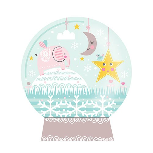 Katy Halford Illustration - katy, halford, licensing, cards, digital, mixed media, collage, digital, photoshop, illustrator, cute, sweet, young, snow globe, elephant, star, moon, birds, decorative, pattern,