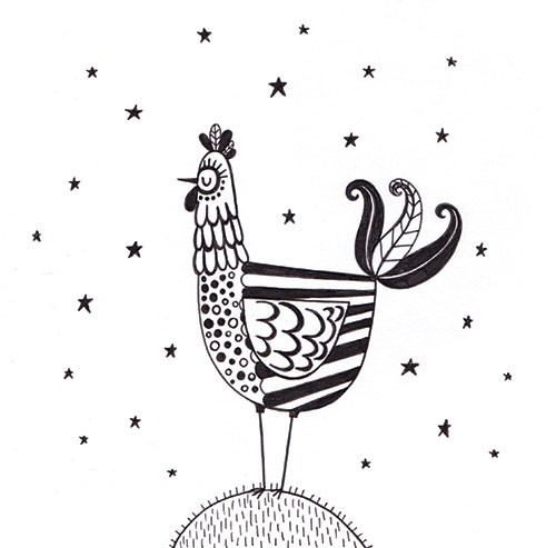 Katy Halford Illustration - katy, halford, fiction, picture book, commercial, characters, people, digital, black and white line, line, B&W, digital, photoshop, illustrator, animal, detail, decoration, chicken, hen, stars