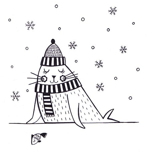 Katy Halford Illustration - katy, halford, fiction, picture book, commercial, characters,  digital, black and white line, line, B&W, digital, photoshop, illustrator, animal, detail, decoration, seal, winter, snow, xmas, flakes, cold, ice, scarf, hat, humour, funny, cute