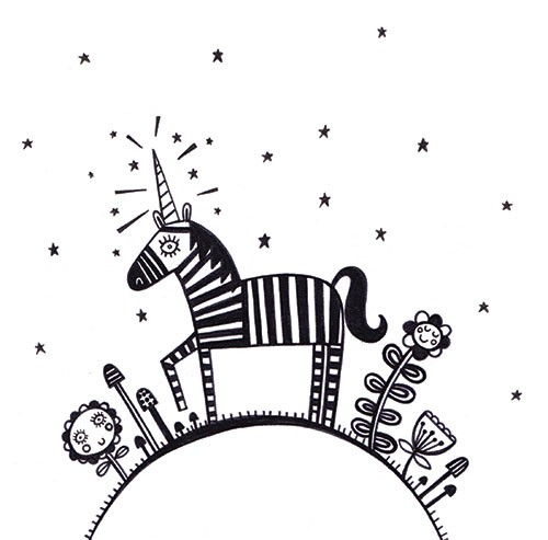 Katy Halford Illustration - katy, halford, fiction, picture book, commercial, characters, digital, black and white line, line, B&W, digital, photoshop, illustrator, animal, detail, decoration, unicorn, stars, decoration, magical
