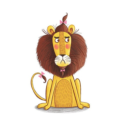 Katy Halford Illustration - katy, halford, fiction, picture book, commercial, mass-market, characters, digital, texture, digital, photoshop, illustrator, lion, wildlife, animals, bow, mane, humour, funny