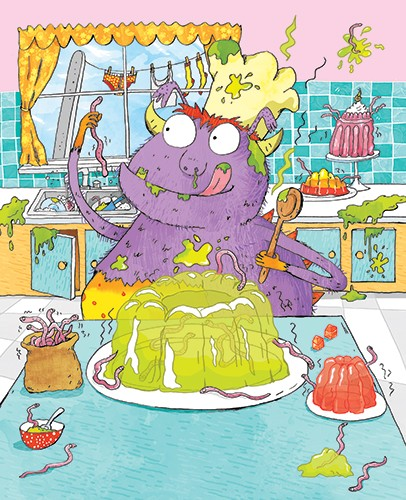 Kate Leake Illustration - kate leake, kate, leake, digital, commercial, fiction, picture book, educational, picturebook, quirky, textured, collage, photoshop, illustrator, funny, monster, purple, smells, cooking, kitchen, worms, jelly, sinks, dirty, food, pudding, party