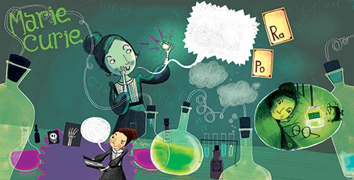 Kate Pankhurst Illustration - kate pankhurst, fiction, commercial, paint, painted, ink, pen, watercolour, mixed media, collage, digital, marie curie, women, woman, science, great, potion, chemicals, lab, glasses, education, history,