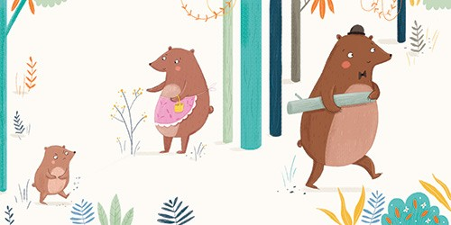 Louise Wright Illustration - louise, wright, louise wright, texture, mixed media, traditional, digital, photoshop, illustrator, trade, mass market, picture book, bears, woods, trees, family, detail,