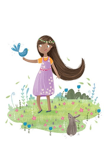 Louise Wright Illustration - louise, wright, louise wright, texture, mixed media, traditional, digital, photoshop, illustrator, trade, mass market, picture book, girl, birds, flowers, plants, detail, dress, stars, rabbit, garden, cute