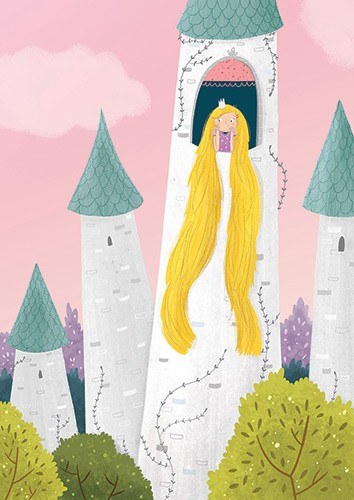 Louise Wright Illustration - louise, wright, louise wright, texture, mixed media, traditional, digital, photoshop, illustrator, trade, mass market, picture book, rapunzel, tower, hair, blonde, fairytale,castle, tower, turret, girl
