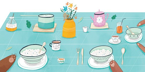 Louise Wright Illustration - louise, wright, louise wright, texture, mixed media, traditional, digital, photoshop, illustrator, trade, mass market, picture book, goldilocks, 3, bears, table cloth, food, breakfast, porridge, honey, tea, flowers, juice