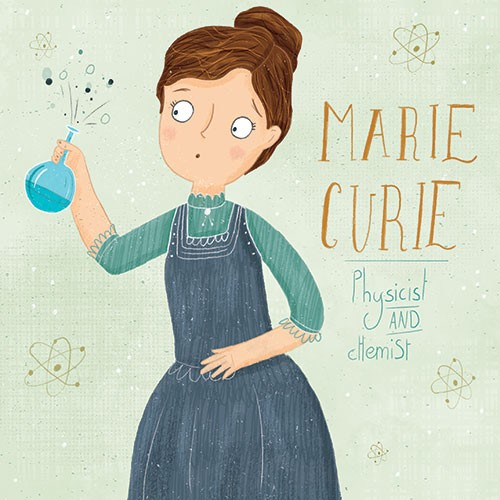 Louise Wright Illustration - louise, wright, louise wright, texture, digital, photoshop, illustrator, trade, mass market, picture book, woman, bottle, marie curie, inspiration, chemist, science, potion, physics