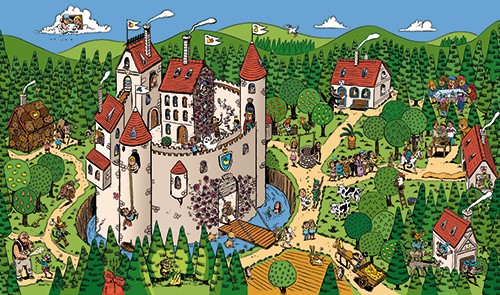 Mamei  Illustration - mamei, marian, schonfeld, illustration, digital, illustrator, photoshop, castle, building, house, houses, trees, forest, woods, vector, picture book, young reader, YA, colourful