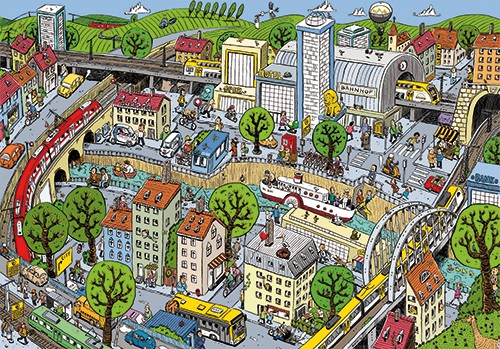 Mamei  Illustration - mamei, marian, schonfeld, illustration, digital, illustrator, photoshop, landscape, city scape, town, city, buildings, houses, trains, travel, transport, vector, picture book, young reader, YA, colourful
