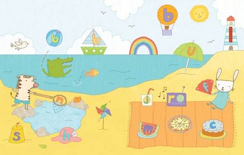 Marina Aizen Illustration - marina aizen, marina, aizen, young, picture books, digital, beach, seaside, holidays, rainbows, beaches, sand, boats, ships, suns, balloons, picnics, bunny, bunnies, rabbits, zebras, fishing, light house, fish, fishes, crocodiles,