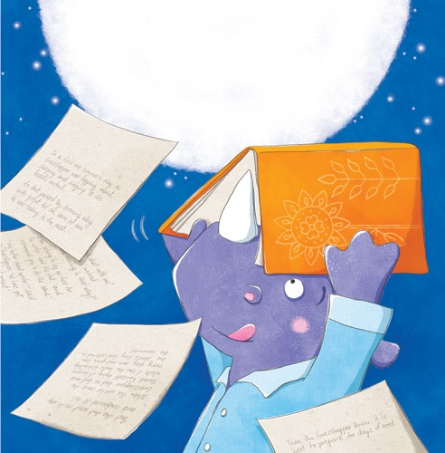 Marta Costa Illustration - marta, costa, marta costa, digital, commercial, educational, picture book, young reader, YA, colourful, colour, cute, sweet, animals, lizard, rhino, story, friends, friendship, funny, humour, moon, night time, night, bed time
