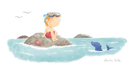 Marta Costa Illustration - marta, costa, marta costa, digital, commercial, educational, picture book, young reader, YA, colourful, colour, cute, summer, holiday, summer holiday, sweet, sea, water, seal, animal, sea shore boy, swimming, crab, birds, red trunks, goggles, snorkel, roc