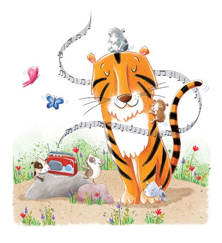 Marta Costa Illustration - marta, costa, marta costa, digital, photoshop, illustrator, line, commercial, educational, picture book, young reader, YA, colourful, tiger, music, notes, mice, hamsters, gerbils, radio, song, butterflies, butterfly, sleep, rock, flowers, plants, grass
