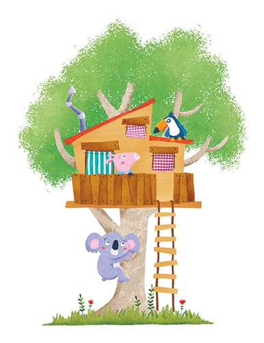 Marta Costa Illustration - marta, costa, marta costa, digital, commercial, educational, picture book, young reader, YA, colourful, colour, cute, sweet, house, koala bear, bird, pig, piggy, treehouse, tree, friends, friendship, fun
