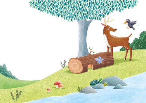 Marta Costa Illustration - marta, costa, marta costa, pencil, digital, commercial, educational, picture book, young reader, YA, colourful, colour, cute, sweet, animals, deer, crow, friends, forest, woods, trees, log, river, stream, tortoise, mouse, mushrooms, plants, rocks, nature