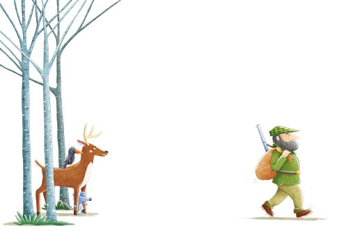 Marta Costa Illustration - marta, costa, marta costa, pencil, digital, commercial, educational, picture book, young reader, YA, colourful, colour, cute, sweet, animals, woods, forest, deer, crow, friends, mouse, trees, nature, man, hunter, scared, hiding