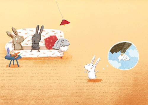 Marta Cabrol Illustration - marta cabrol, marta, cabrol, painted, digital, novelty, picture book, commercial, educational, sweet, young, fiction, acrylic, trade, rabbits, bunnies, bunny, friends, pals, homes, houses, sofas, chairs, lights, lampshades, carrots, vegetables, food, eating, snacks, ate, eat, drinks, bottles, dreaming, thinking, caught, trapped