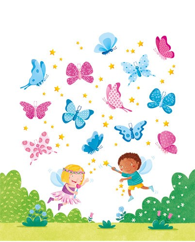 Marta Costa Illustration - marta, costa, marta costa, pencil, digital, commercial, educational, picture book, young reader, YA, colourful, colour, cute, sweet, animals, butterfly, butterflies, children, boy, girl, kids, fairy, fairies, wings, wands, stars, sparkles, bushes, plants,