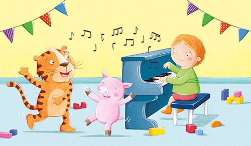 Marta Costa Illustration - marta, costa, marta costa, pencil, digital, commercial, educational, picture book, young reader, YA, colourful, colour, cute, sweet, party, birthday, piano, boy, child, playing, music, tiger, pig, dance, dancing, bunting, happy,