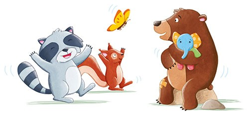 Marta Costa Illustration - marta, costa, marta costa, pencil, digital, commercial, educational, picture book, young reader, YA, colourful, colour, cute, sweet, bear, racoon, squirrel, animals, wild, happy, butterfly, friends, toy, elephant, dancing,