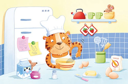 Marta Costa Illustration - marta, costa, marta costa, pencil, digital, commercial, educational, picture book, young reader, YA, colourful, colour, cute, sweet, kitchen, baking, cooking, tiger, mouse, animals, wild, house, home, eggs, flour, fridge, funny,