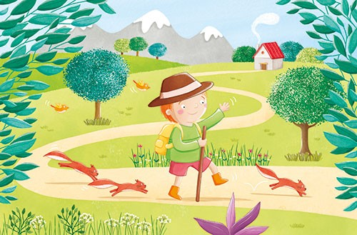 Marta Costa Illustration - marta, costa, marta costa, pencil, digital, commercial, educational, picture book, young reader, YA, colourful, colour, cute, sweet, boy, child, walk, walking, hike, path, nature, stick, squirrels, animals, trees, mountains, house, chimney, happy, summer,