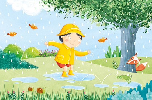 Marta Costa Illustration - marta, costa, marta costa, pencil, digital, commercial, educational, picture book, young reader, colourful, colour, cute, sweet, boy, child, walk, walking, rain, raining, puddles, jumping, fun, nature, birds, fox, animals, trees, happy, weather, seasons