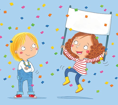 Marta Costa Illustration - marta, costa, marta costa, pencil, digital, commercial, educational, picture book, young reader, YA, colourful, colour, cute, sweet, children, boy, girl, banner, confetti, celebrate, happy, occasion, joy, jumping,
