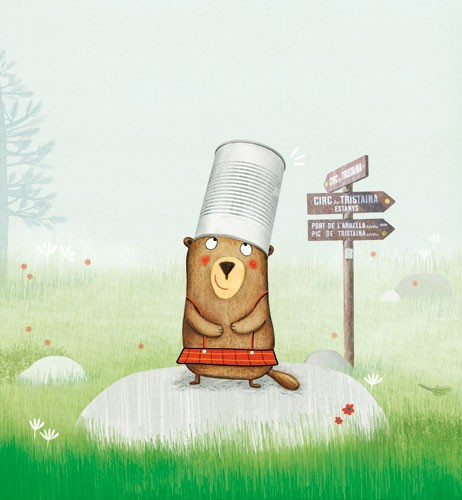 Marta Cabrol Illustration - marta cabrol, marta, cabrol, painted, digital, novelty, picture book, commercial, educational, sweet, young, fiction, acrylic, trade, young reader, YA, colour, colourful, animal, beaver, hat, tin, bucket, arrows, rock, cute, sweet, happy, trees, overalls , flowers, meadow