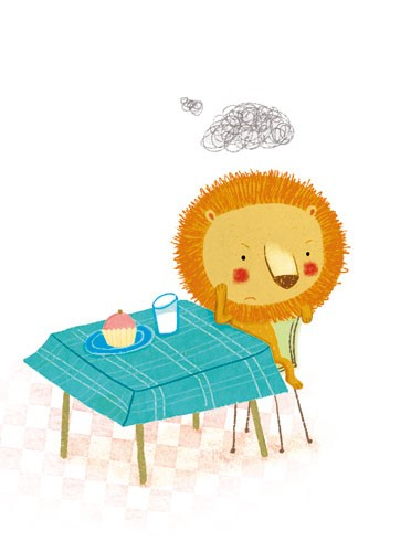 Marta Cabrol Illustration - marta cabrol, marta, cabrol, painted, digital, novelty, picture book, commercial, educational, sweet,cute,  young, fiction, acrylic, trade, young reader, YA, colour, colourful, animal, lion, grumpy, sad, angry, annoyed, sulky, food, clouds, scribbles, table, chair, cake, cupcake, milk, glass